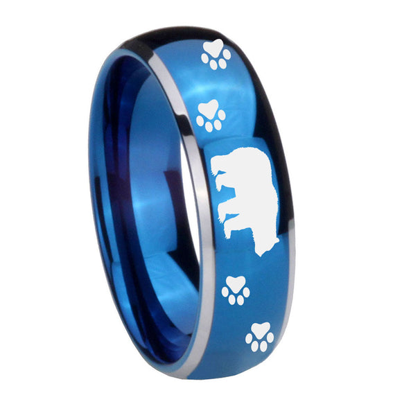 8mm Bear and Paw Dome Blue 2 Tone Tungsten Carbide Mens Ring