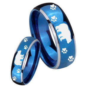 Bride and Groom Bear and Paw Dome Blue 2 Tone Tungsten Carbide Bands Ring Set