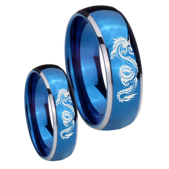 Bride and Groom Dragon Dome Blue 2 Tone Tungsten Mens Anniversary Ring Set
