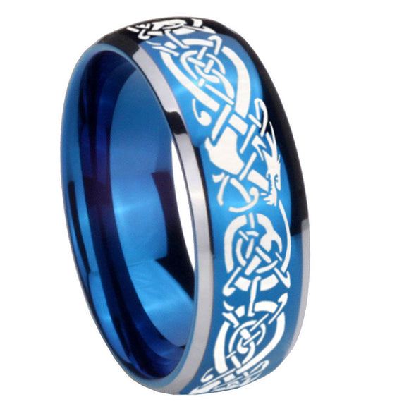 8mm Celtic Knot Dragon Dome Blue 2 Tone Tungsten Carbide Mens Ring Engraved