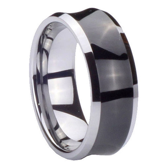 10MM Tungsten Carbide Concave Black IP Men Bands Ring