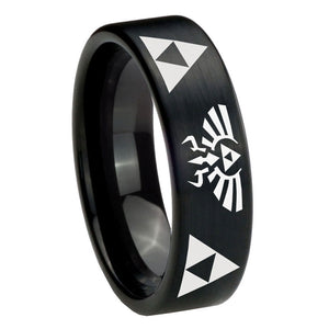 8mm Legend of Zelda Pipe Cut Brush Black Tungsten Carbide Bands Ring
