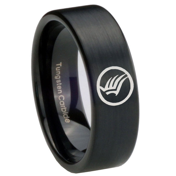 8MM Brush Black Mass Effect Pipe Cut Tungsten Carbide Laser Engraved Ring