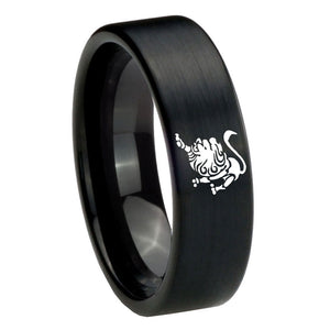 8mm Leo Zodiac Horoscope Pipe Cut Brush Black Tungsten Custom Ring for Men