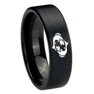 8mm Pisces Zodiac Horoscope Pipe Cut Brush Black Tungsten Carbide Engraved Ring