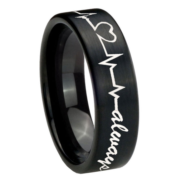 8mm Heart Beat forever Heart always Pipe Cut Brush Black Tungsten Men's Ring