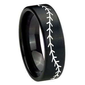 8mm Baseball Stitch Pipe Cut Brush Black Tungsten Carbide Mens Engagement Band