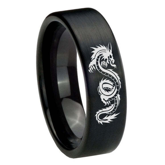 8mm Dragon Pipe Cut Brush Black Tungsten Carbide Personalized Ring