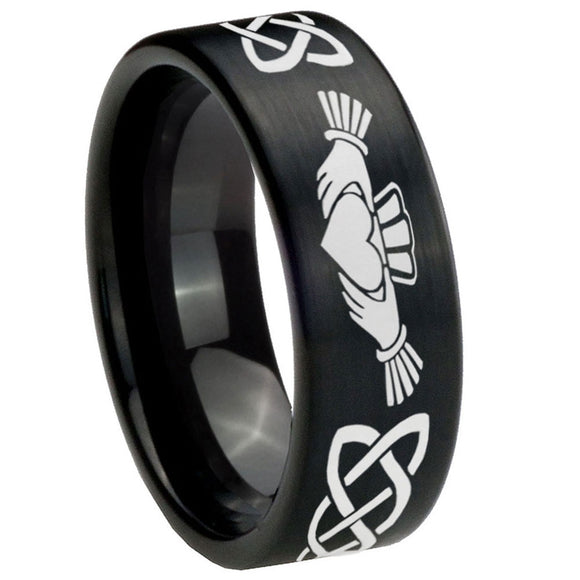 8mm Irish Claddagh Pipe Cut Brush Black Tungsten Carbide Engraved Ring