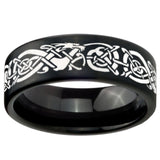 8mm Celtic Knot Dragon Pipe Cut Brush Black Tungsten Wedding Engraving Ring