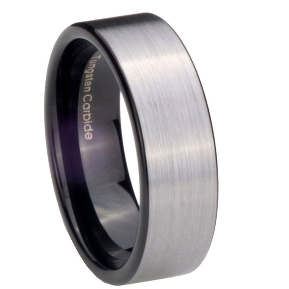 8MM Black Tungsten Carbide Silver Brush Pipe Cut Men Bands Ring