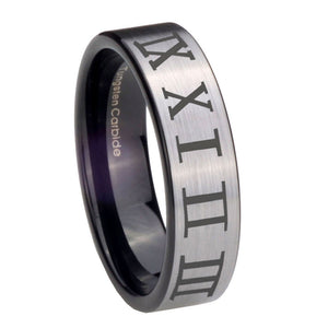 8mm Roman Numeral Pipe Cut Brushed Silver Tungsten Carbide Mens Promise Ring