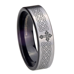 8mm Celtic Cross Pipe Cut Brushed Silver Tungsten Carbide Men's Wedding Band
