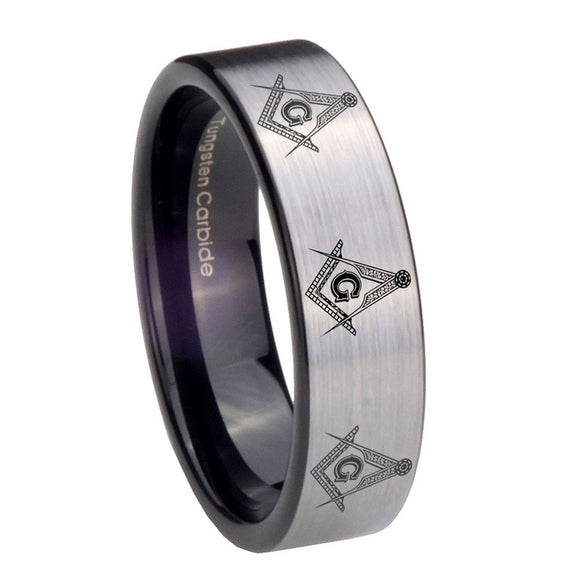 8mm Multiple Master Mason Pipe Cut Brushed Silver Tungsten Carbide Mens Ring