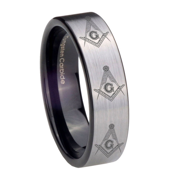 8mm Multiple Master Mason Masonic Pipe Cut Brushed Silver Tungsten Engraved Ring