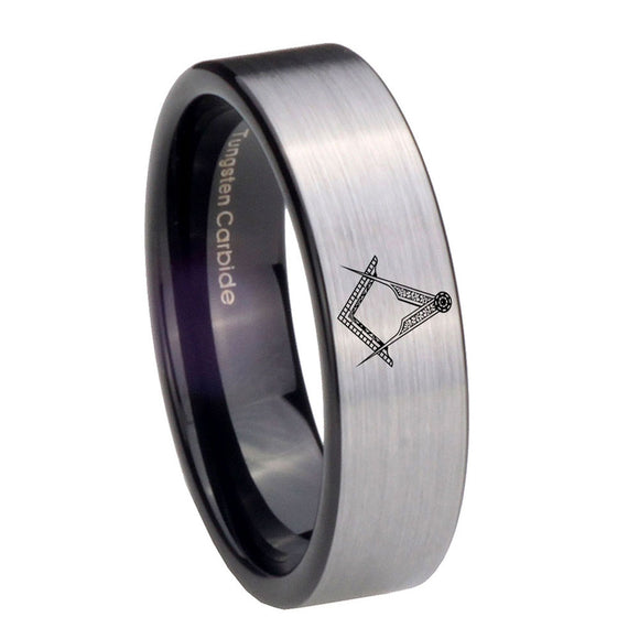 8mm Masonic Pipe Cut Brushed Silver Tungsten Carbide Mens Anniversary Ring