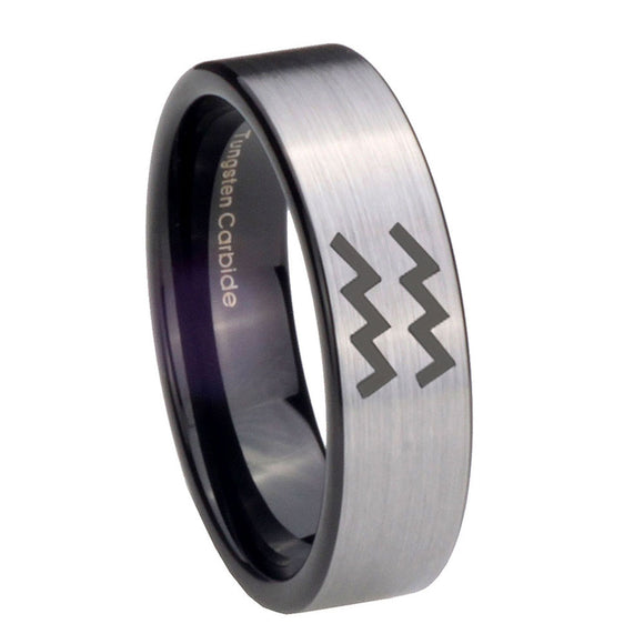 8mm Aquarius Horoscope Pipe Cut Brushed Silver Tungsten Carbide Mens Ring