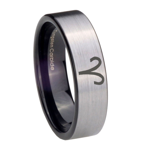8mm Aries Zodiac Pipe Cut Brushed Silver Tungsten Carbide Men's Ring