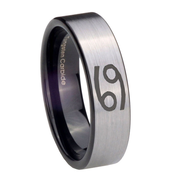 8mm Cancer Horoscope Pipe Cut Brushed Silver Tungsten Mens Ring Engraved