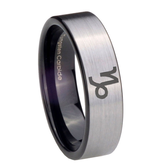8mm Capricorn Zodiac Pipe Cut Brushed Silver Tungsten Mens Ring Personalized
