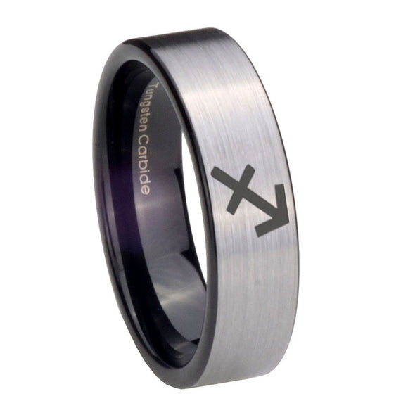 8mm Sagittarius Zodiac Pipe Cut Brushed Silver Tungsten Personalized Ring