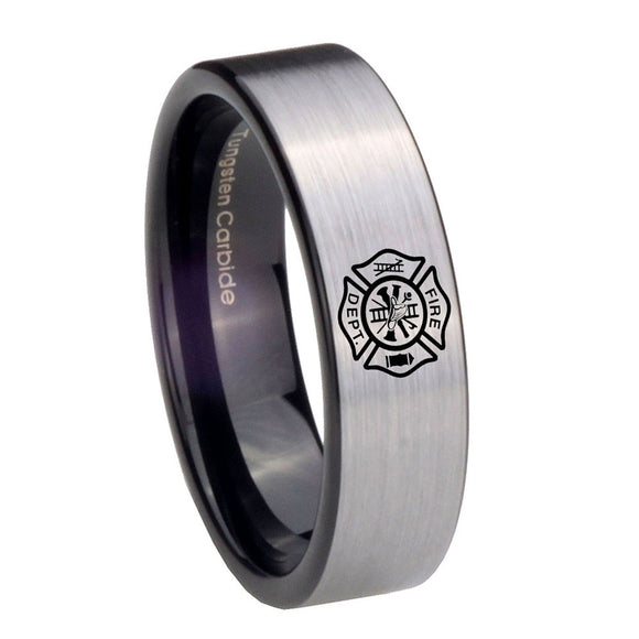 8mm Fire Department Pipe Cut Brushed Silver Tungsten Carbide Mens Ring Engraved