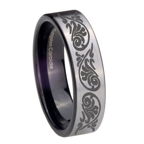 8mm Etched Tribal Pattern Pipe Cut Brushed Silver Tungsten Personalized Ring