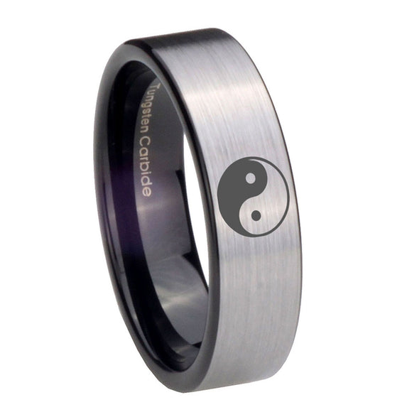 8mm Yin Yang Pipe Cut Brushed Silver Tungsten Carbide Mens Ring Personalized