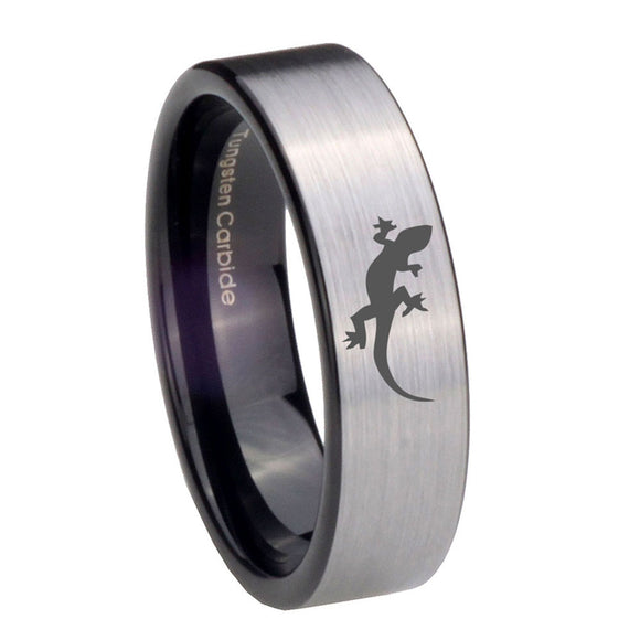 8mm Lizard Pipe Cut Brushed Silver Tungsten Carbide Men's Bands Ring