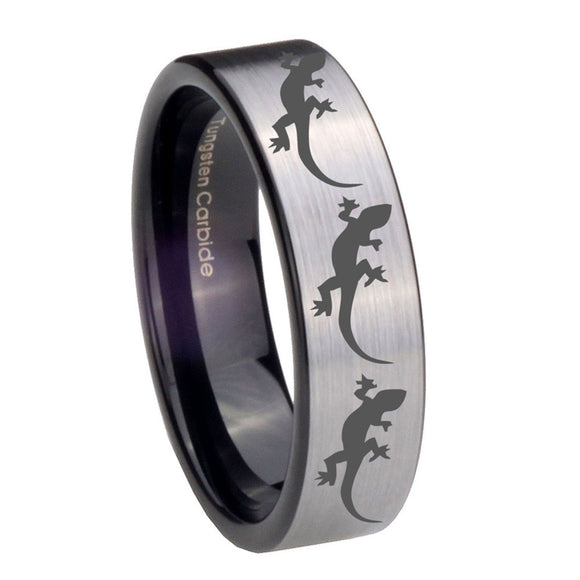 8mm Multiple Lizard Pipe Cut Brushed Silver Tungsten Carbide Mens Wedding Ring