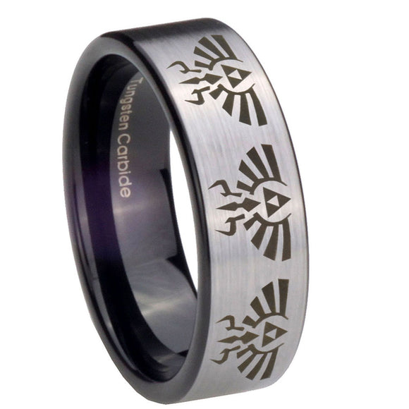 8mm Multiple Zelda Skyward Sword Pipe Cut Brushed Silver Tungsten Mens Ring