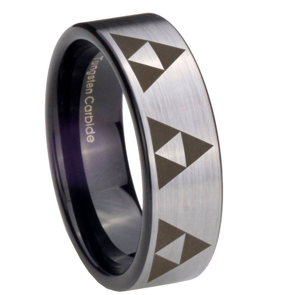 8mm Multiple Zelda Triforce Pipe Cut Brushed Silver Tungsten Mens Wedding Band