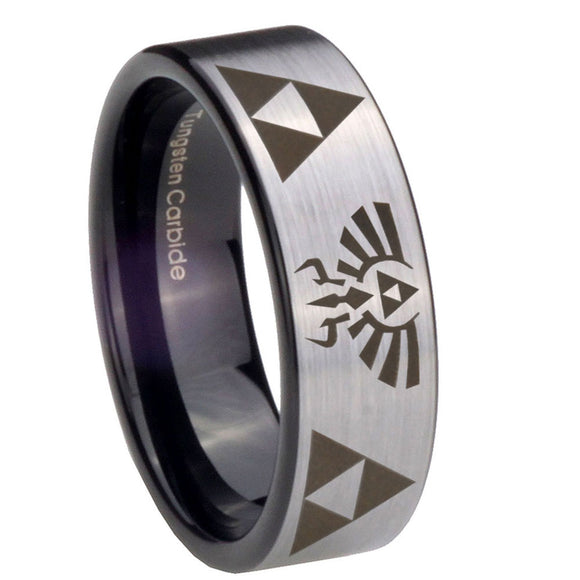 8mm Legend of Zelda Pipe Cut Brushed Silver Tungsten Carbide Men's Wedding Band