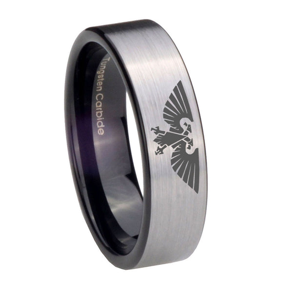 8mm Aquila Pipe Cut Brushed Silver Tungsten Carbide Men's Engagement Band
