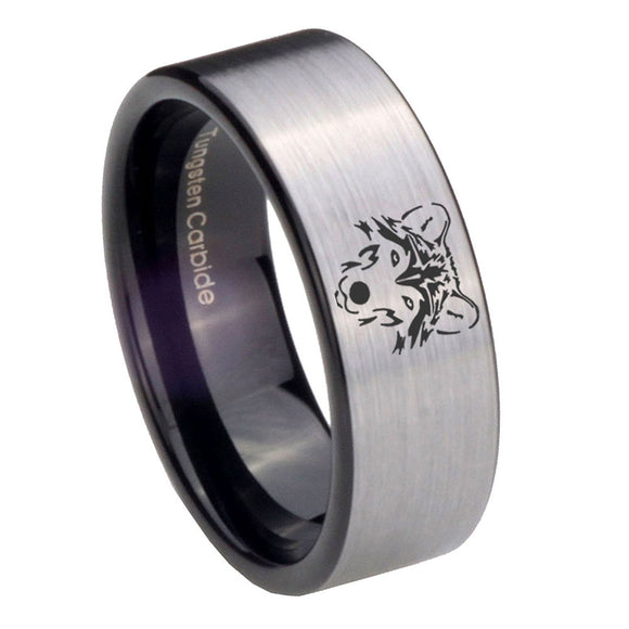 8mm Wolf Pipe Cut Brushed Silver Tungsten Carbide Engagement Ring