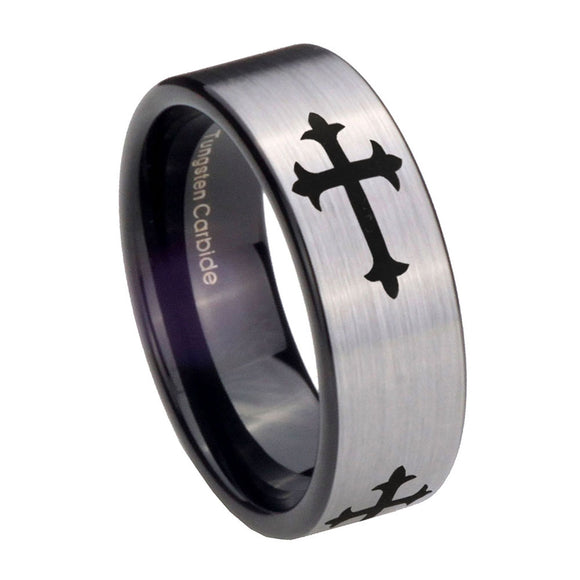 8mm Christian Cross Religious Pipe Cut Brushed Silver Tungsten Custom Ring for Men