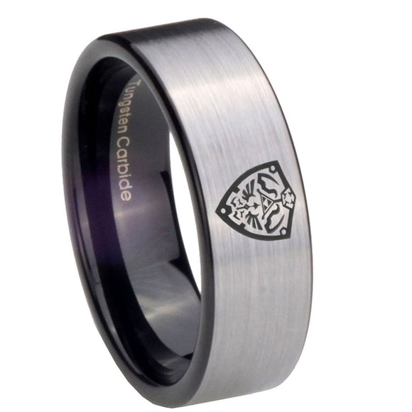 8mm Zelda Hylian Shield Pipe Cut Brushed Silver Tungsten Mens Engagement Band