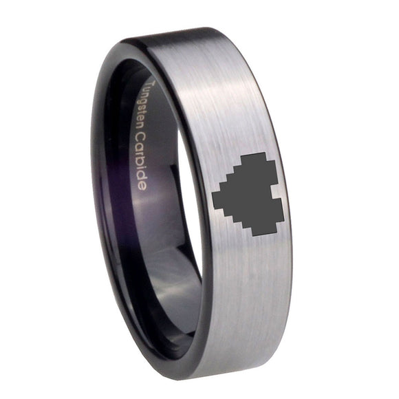 8MM Silver Black Zelda Heart Pipe Cut Tungsten Carbide Laser Engraved Ring