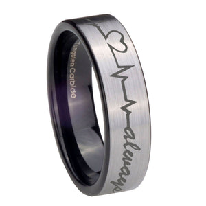 8mm Heart Beat forever Heart always Pipe Cut Brushed Silver Tungsten Bands Ring