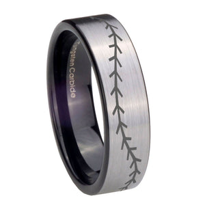 8mm Baseball Stitch Pipe Cut Brushed Silver Tungsten Custom Ring for Men