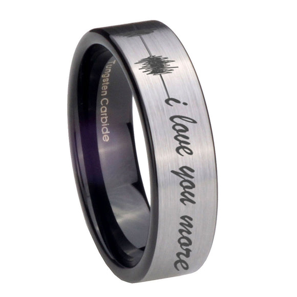 8mm Sound Wave, I love you more Pipe Cut Brushed Silver Tungsten Engraved Ring