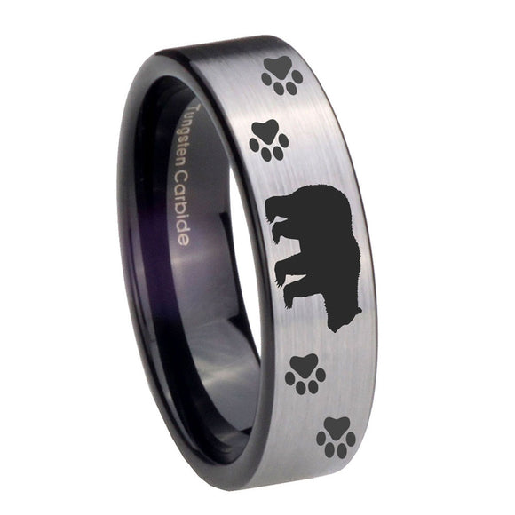 8mm Bear and Paw Pipe Cut Brushed Silver Tungsten Carbide Mens Engagement Ring