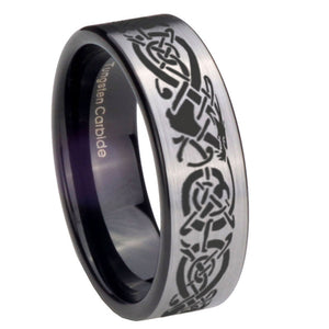 8mm Celtic Knot Dragon Pipe Cut Brushed Silver Tungsten Personalized Ring