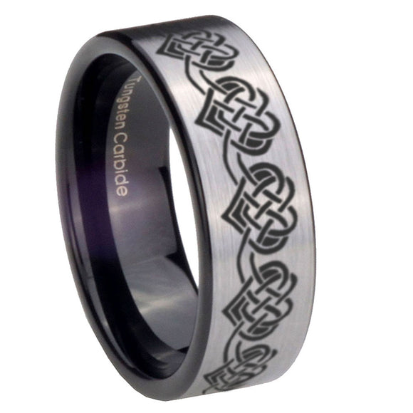 8mm Celtic Knot Heart Pipe Cut Brushed Silver Tungsten Custom Ring for Men