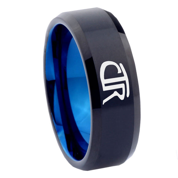 8mm CTR Design Bevel Tungsten Carbide Blue Custom Ring for Men