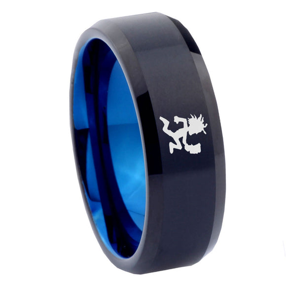 8mm Hatchet Man Bevel Tungsten Carbide Blue Mens Ring Engraved