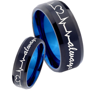 His Hers Heart Beat forever Heart always mores Bevel Tungsten Blue Ring Set