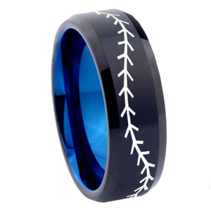 8mm Baseball Bevel Tungsten Carbide Blue Wedding Band Ring