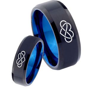 His Hers Infinity Loves Bevel Tungsten Blue Men's Wedding Ring Set