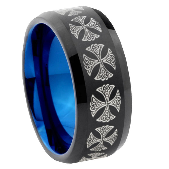 10mm Medieval Cross Bevel Tungsten Carbide Blue Wedding Ring